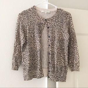 LOFT Leopard Sweater Cardigan SZ XSP Petite